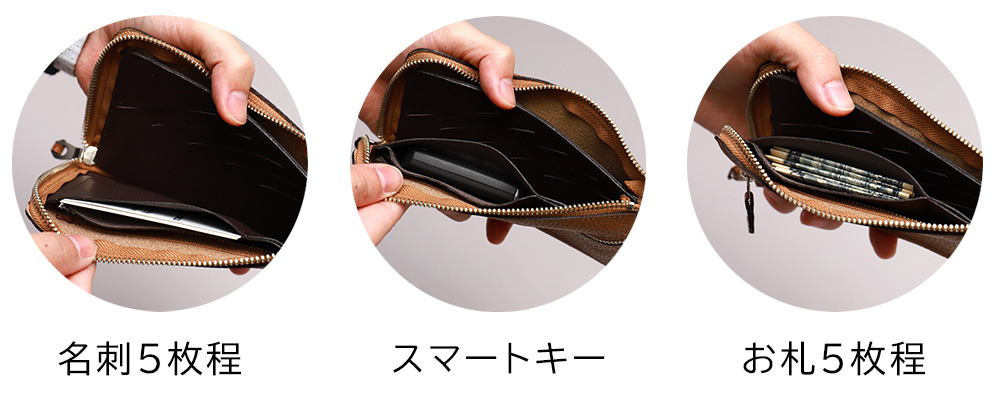 長財布 L字ファスナー スリット 10枚 コンパクト 縦 革 薄型 スリム