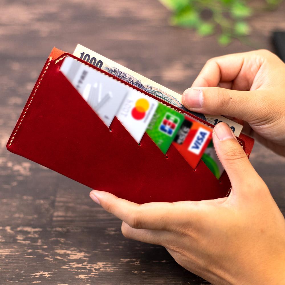 長財布 折財布 カード お札 シンプル 薄型 12枚 内ポケット 本革 レザー